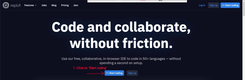 Click on start coding